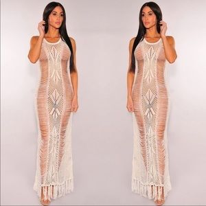 Knitted hollow out tassel cover up swimwear NWT